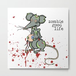 Zombie Mouse Metal Print