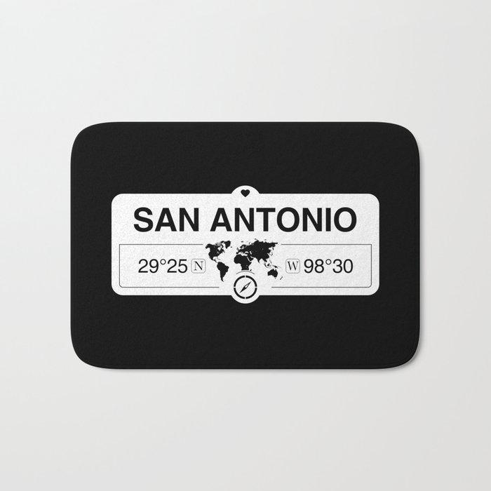 San Antonio Texas Map Gps Coordinates Artwork With Compass