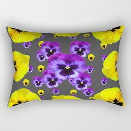 YELLOW & PURPLE PANSY FLOWERS FLOATING ON CHARCOAL Rectangular Pillow