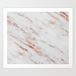 Lenola - minimalist rose gold gleam marble Art Print