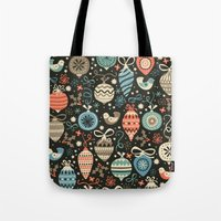 folk Tote Bags featuring Festive Folk Charms by Poppy & Red