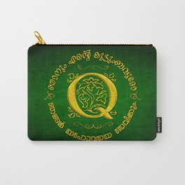 Joshua 24:15 - (Gold on Green) Monogram Q Carry-All Pouch