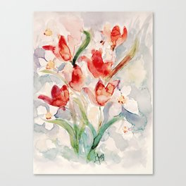 Tulips and Narcissi for Easter Canvas Print