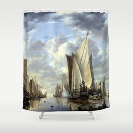 Jan van de Cappelle Shipping in a Calm at Flushing with a States General Yacht Firing a Salute Shower Curtain