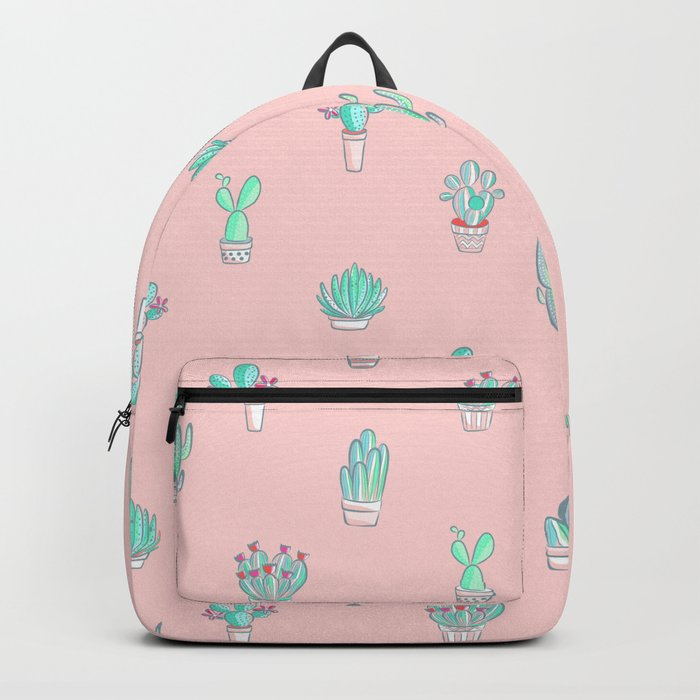 Little succulent pattern on pastel pink Backpack