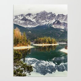 Green Blue Lake, Trees and Mountains Poster