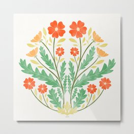 Art Nouveau Illustration / Floral / Circular / Red Metal Print