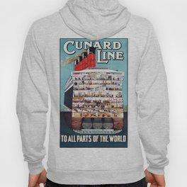 Vintage travel poster - Cunard Line Hoody