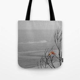 Red Cardinal Birds Black and White Beach Coastal A195 Tote Bag