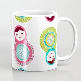 dolls matryoshka on white background, pink and blue colors Coffee Mug