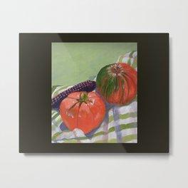 Pumpkin, Tomato and Corn Still Life Metal Print