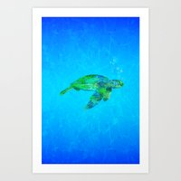 sea turtle Art Prints featuring Sea Turtle  by MacDonald Creative Studios