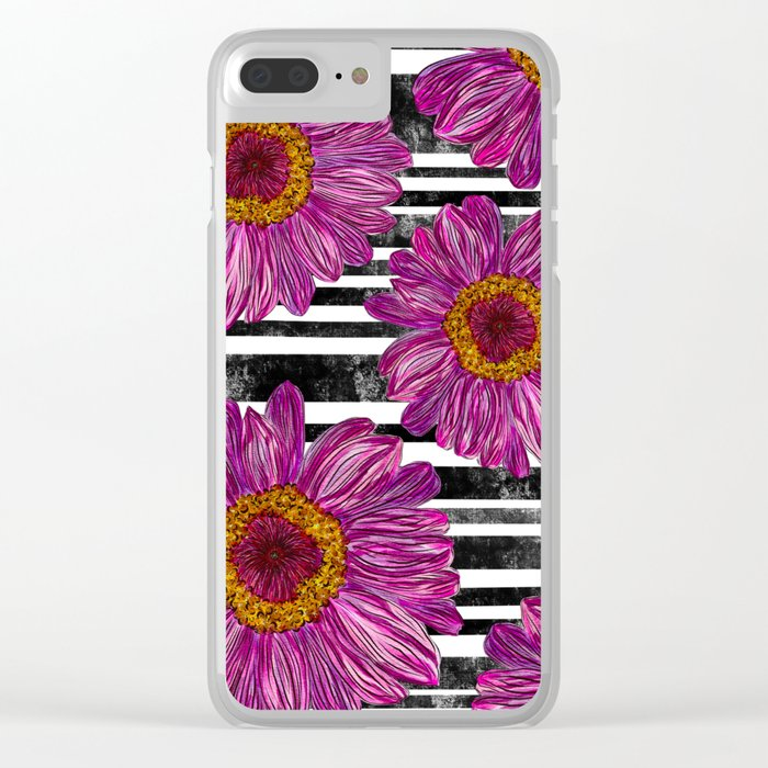 Pink Ink Flowers on Black & White Stripes Clear iPhone Case