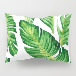 Banana Leaves pattern in watercolor Pillow Sham