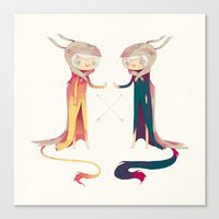 twins Canvas Prints featuring twins by yohan sacre