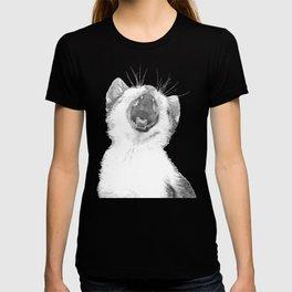 Black and White Sleepy Kitten T-shirt