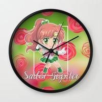 sailor jupiter Wall Clocks featuring Chibi Sailor Jupiter by Neo Crystal Tokyo
