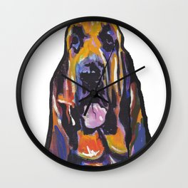 Fun BLOODHOUND Dog Portrait bright colorful Pop Art Painting by LEA Wall Clock