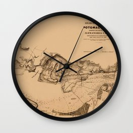 Map of Potomac River 1838 Wall Clock