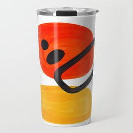 Midcentury Modern Colorful Abstract Pop Art Space Age Fun Bright Orange Yellow Colors Minimalist Travel Mug