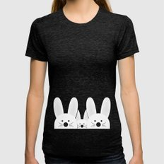 Spying Bunnies Tri-Black MEDIUM Womens Fitted Tee
