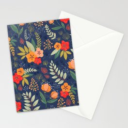 Navy Floral Stationery Cards