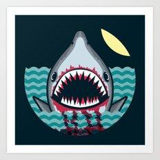 Dark night at the sea - wild shark appear Art Print