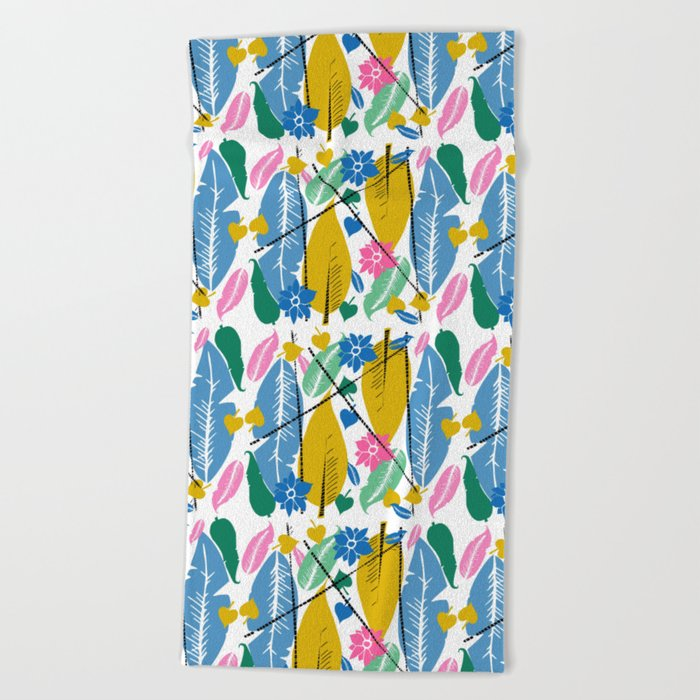 Feathers and leafs Beach Towel