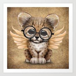 Cheetah Cub with Fairy Wings Wearing Glasses Art Print