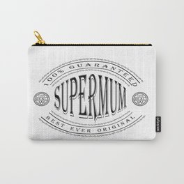 100% Best Ever Supermum (3D effect black badge on white) Carry-All Pouch