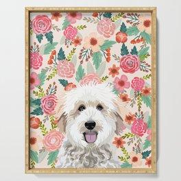 Golden Doodle florals pet portrait art print and dog gifts Serving Tray