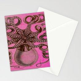 Hot Pink Vintage Octopus Illustration Stationery Cards