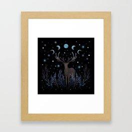 Deer in Winter Night Forest Framed Art Print