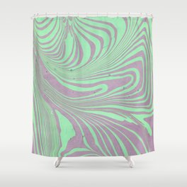 Violet mint green abstract watercolor marble Shower Curtain