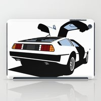 delorean iPad Cases featuring Delorean - Ghost Image 2 by Geoff Ombao Car Art