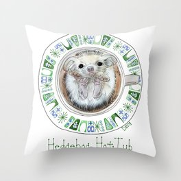 Hedgehog Hot Tub Throw Pillow