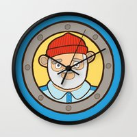 the life aquatic Wall Clocks featuring The Life Aquatic by evannave