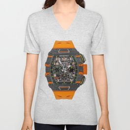 Richard Mille 11-03 MCL Orange Quartz and Carbon TPT Flyback Chronograph 50MM Unisex V-Neck