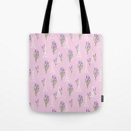 Elegant lavender lilac white Paris Eiffel Tower floral Tote Bag