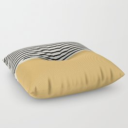 Texture - Black Stripes Gold Floor Pillow