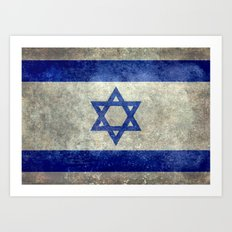 Flag of the State of Israel - Distressed worn patina Art Print