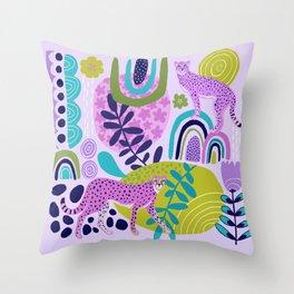 Two Pink Cheetahs Throw Pillow