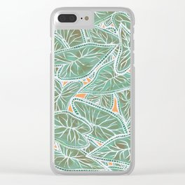 Tropical Caladium Leaves Pattern - Green Clear iPhone Case
