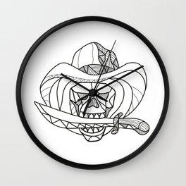 Cowboy Pirate Skull Biting Dagger Mosaic Wall Clock