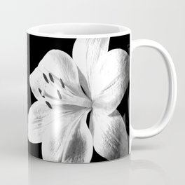 White Lily Black Background Coffee Mug