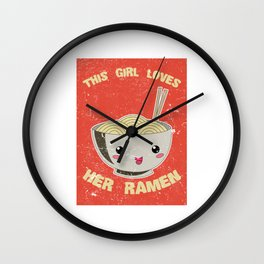 This Girl Loves Her Ramen Japanese Noodles Lover Vintage Retro Wall Clock