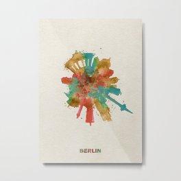 Berlin, Germany (Deutschland) Colorful Skyround / Skyline Watercolor Painting Metal Print