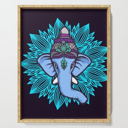 Wise Elephant Ganesha Mandala Serving Tray