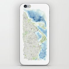 Toronto Canada Watercolor city map iPhone & iPod Skin