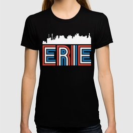 Red White Blue Erie Pennsylvania Skyline T-shirt